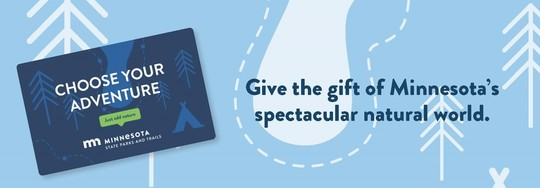 """Give the gift of Minnesota's natural world"" with image of gift card"