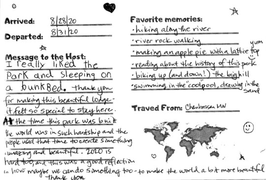 Handwritten thank-you note from visitor