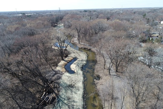 Aerial view of Middle Sand Creek while project is under construction