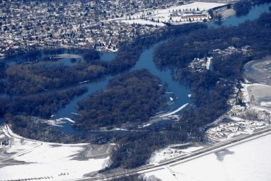 River aerial photo with some flooding