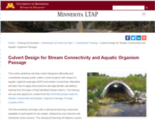 Image of Minnesota LTAP training information page