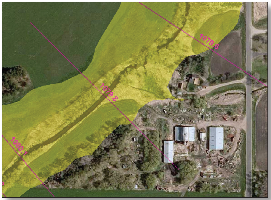 """Sample aerial with """"pink lines"""" showing A Zone modeling one-percent flood elevations"""