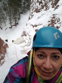 woman in ice climbing gear