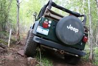 Jeep on designated off-road vehicle road