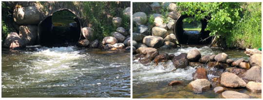 Photo of culverts with high velocity water