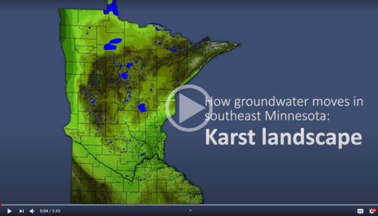 Image of video with graphic of Minnesota map and text