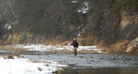Photo of man winter fly fishing at Whitewater