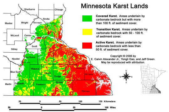 Map of Minnesota with karst lands marked in different colors