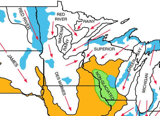 Glacial geologic map of Midwestern US
