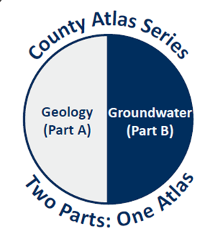 county atlas series logo - Geology (Part A) on left half of circle, and Groundwater (Part B) on right half of circle