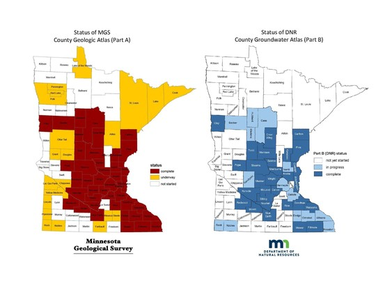 Map of MN showing status by county for county atlas part A and part B