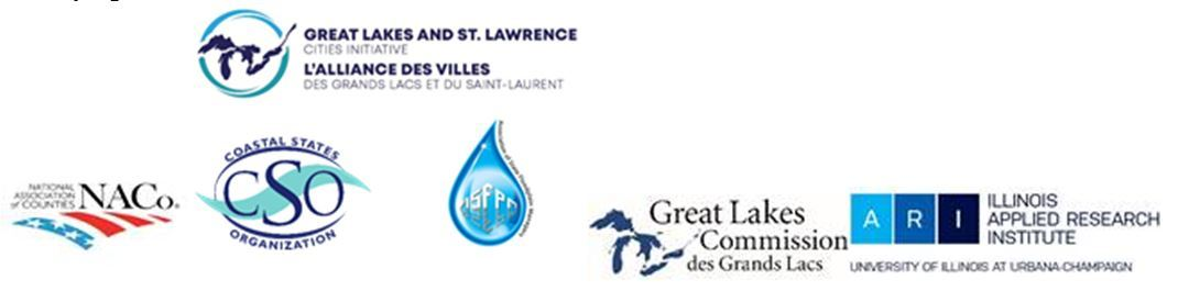 Logos of Great Lakes and St. Lawrence Cities Initiative, NACo, CSO, ASFPM, Great Lakes Commission & IL Applied Research Institute