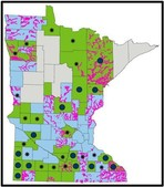 Mapping status shown with different colors for MN counties