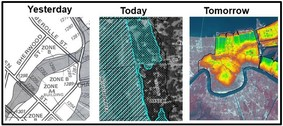 FEMA maps: Yesterday (old black and white map), Today (aerial background) and Tomorrow (color depths)