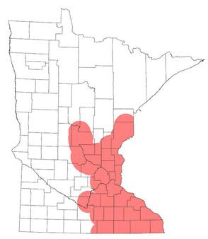 Minnesota known range of oak wilt map.