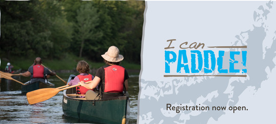 I Can! paddle registration is now open. Photo with I Can Paddle! logo and graphic.