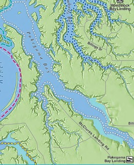 Color map showing Pokegama Bay paddling route