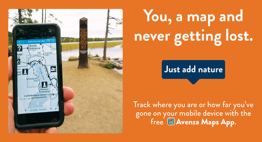Photo with graphic and text, reading track where you are or how far you've gone on your mobile device with the free Avenza Maps App