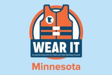 Illustration of orange life jacket with text reading wear it.