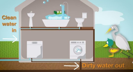 Clip of Wastewater For Kids video showing water use locations like washing machine, toilet, tub and sink.
