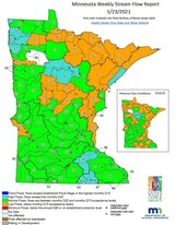 Sample Minnesota weekly stream flow report map