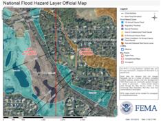 Sample FEMA FIRMette showing different flood risk zones
