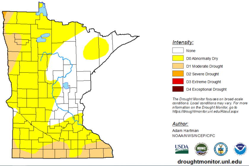 Drought Monitor map showing much of Minnesota in abnormally dry or moderate drought zone