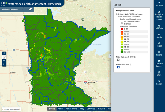 Water Withdrawal Index score for Minnesota
