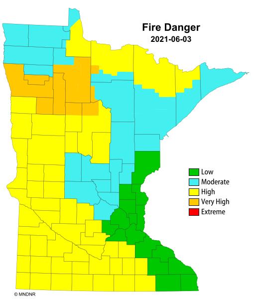 Minnesota statewide fire danger map