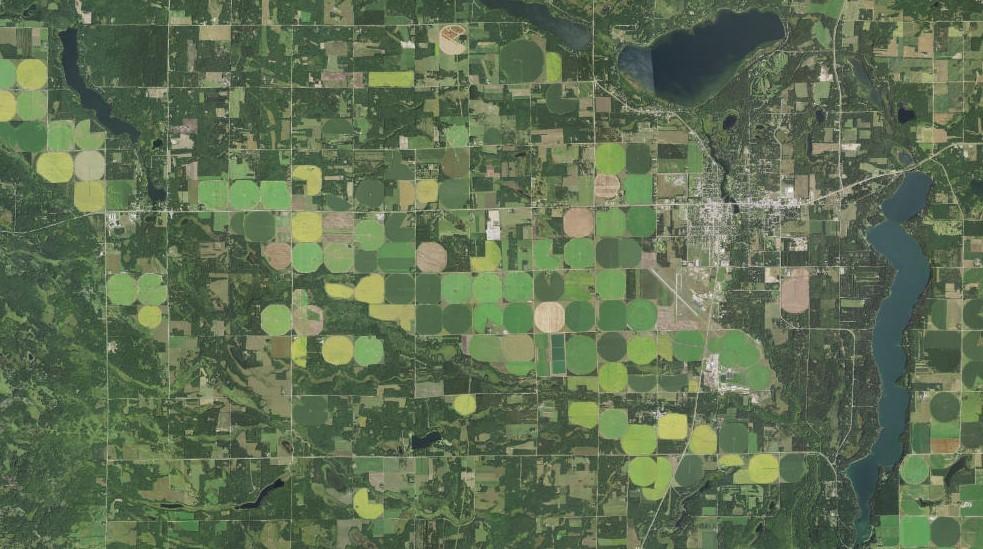 Aerial image of pivot irrigation near Park Rapids Minnesota