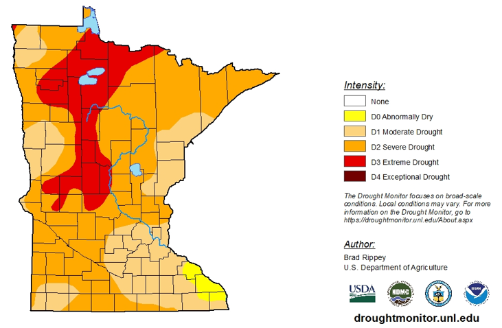 Weekly MN Drought Monitor map