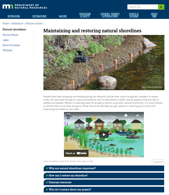 """Clip of """"Maintaining and Restoring Natural Shorelines"""" page with banner showing shoreline getting restored"""