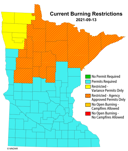 Burning restrictions map