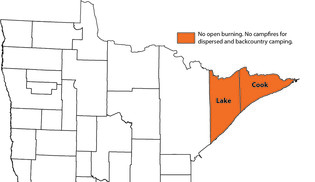 Map of MN counties showing Cook and Lake in orange