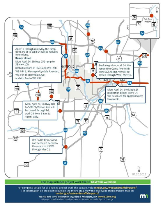 Metro area weekend traffic impacts: April 21-23