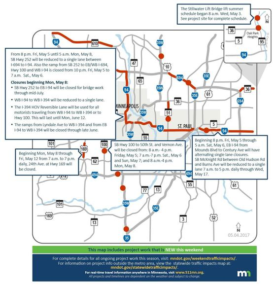 St Paul Traffic Map.Metro Area Weekend Traffic Impacts May 5 7