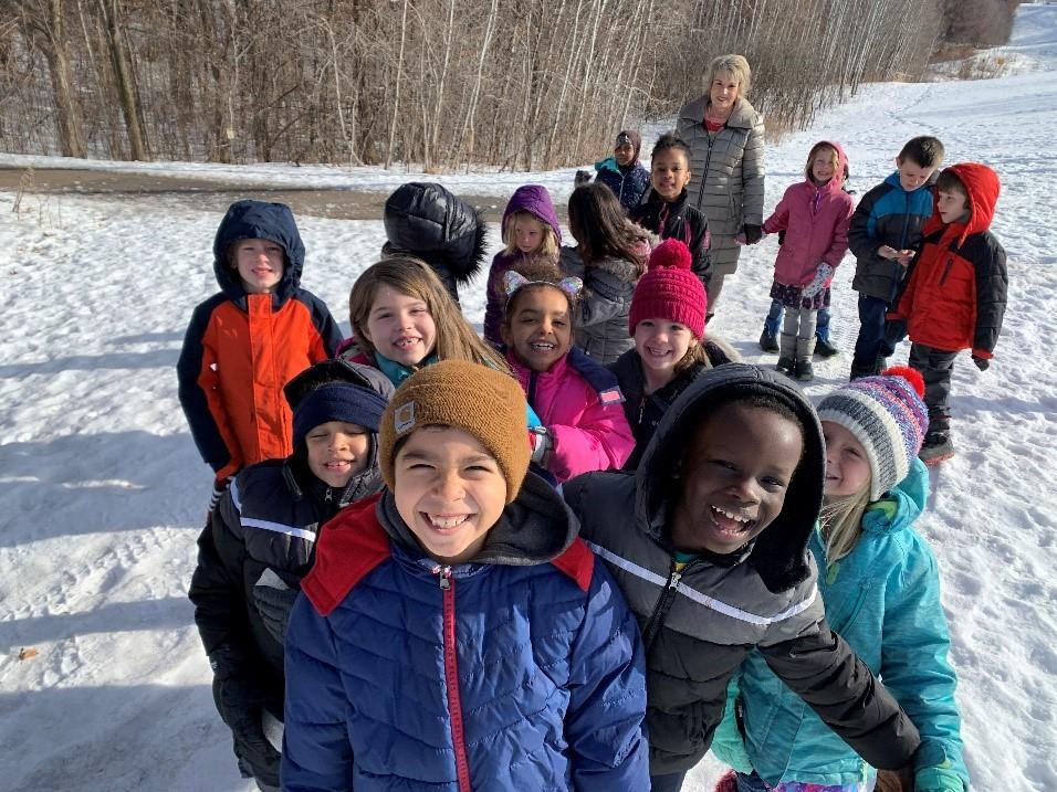 Oak Ridge's second Winter Walk Day students walking outside