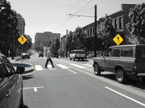 In the right place, crosswalks with curb extensions increase pedestrian visibility to motorists while shortening the crossing distance.