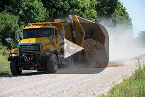 Video of side dumping dump truck