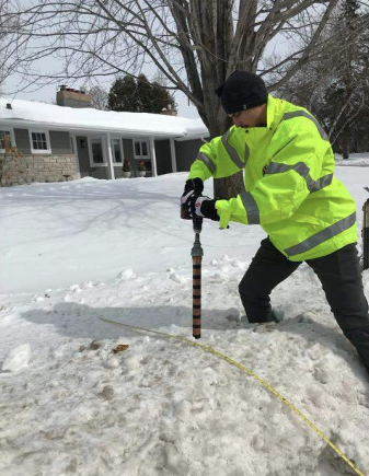 Core samples from snow and ice piles were analyzed for chloride levels.