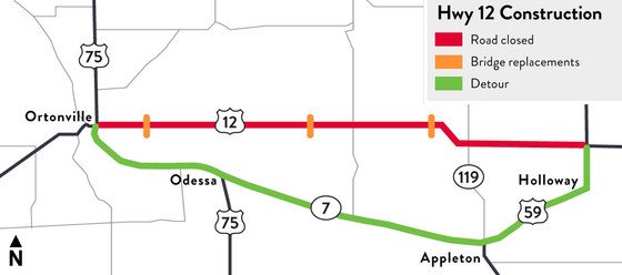 Map of project limits and detour of Highway 12 project between Ortonville and Highway 59