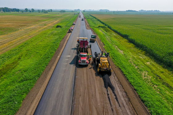 Drone image of paving on Highway 12
