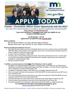 Corrections Officer Career Opportunity Flyer