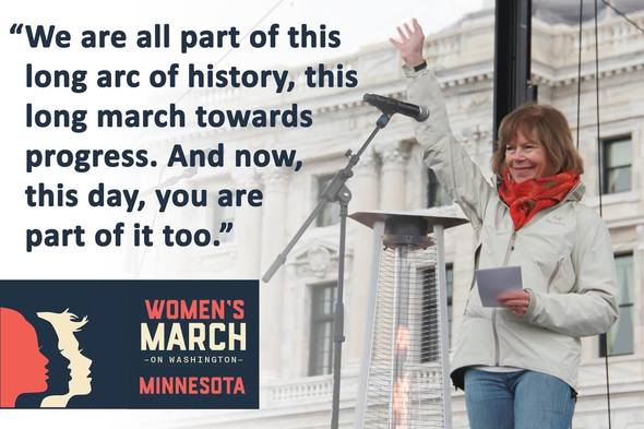 Lt. Governor Tina Smith at the St. Paul Women's March