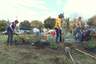 Volunteers planting shrubs at Cepro green space
