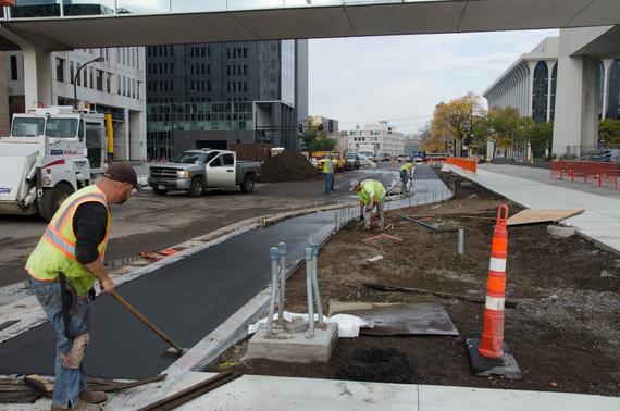 Paving new cycle track on Washington Avenue