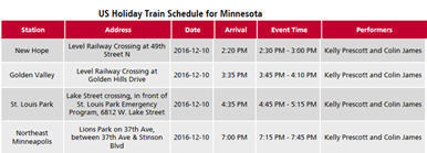 CP Rail Holiday Train schedule