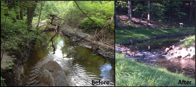 Elm Creek restoration before and after
