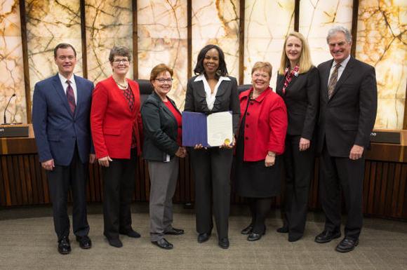 Commissioners and Cora McCorvey Feb. 7
