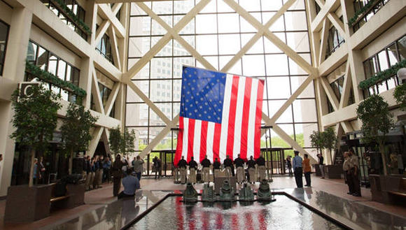 New flag being installed at the Government Center